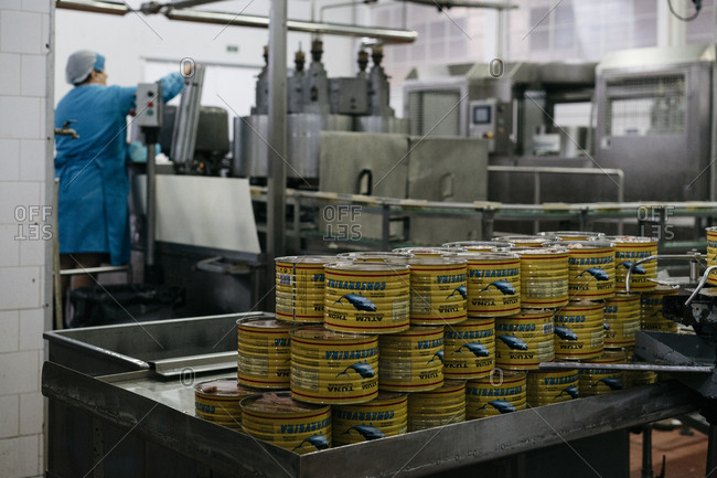 Porto, Portugal - March 3, 2017: Stack of canned tuna at a processing plant