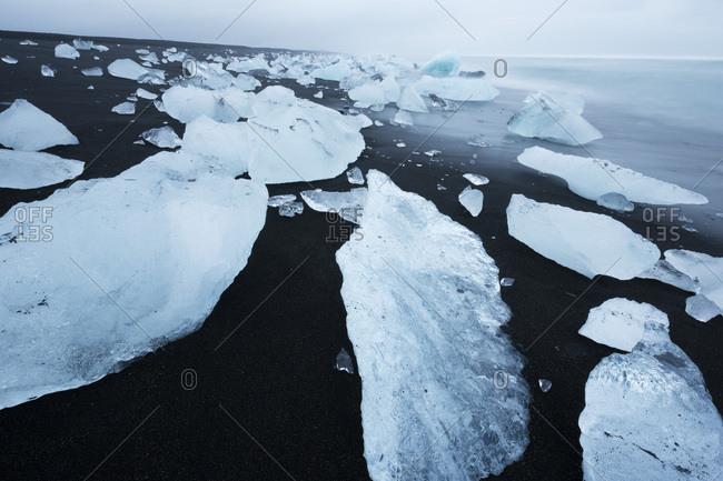 Icebergs on the beach at Jokulsarlon, Iceland, Polar Regions