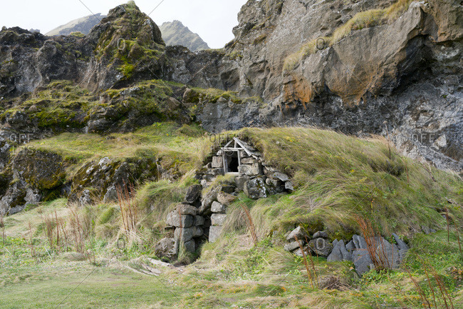 Traditional turf-roofed house at Drangshlid, near Skogar, Iceland, Polar Regions