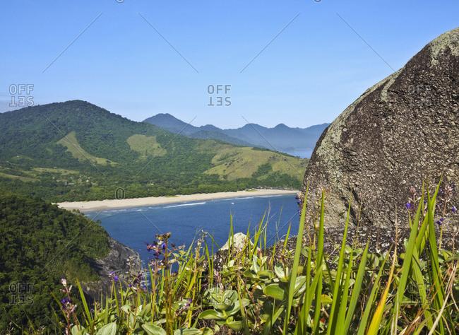 Elevated view of the beach in Bonete, Ilhabela Island, State of Sao Paulo, Brazil, South America