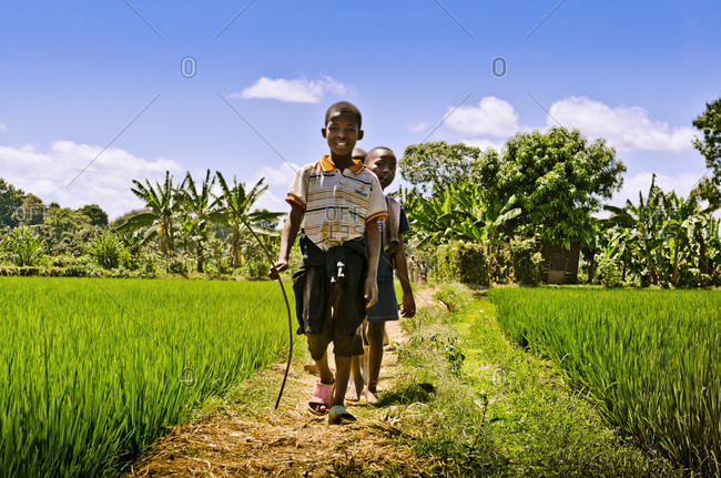 Tanzania,  Africa - September 15,  2012: Young children near Kilimanjaro