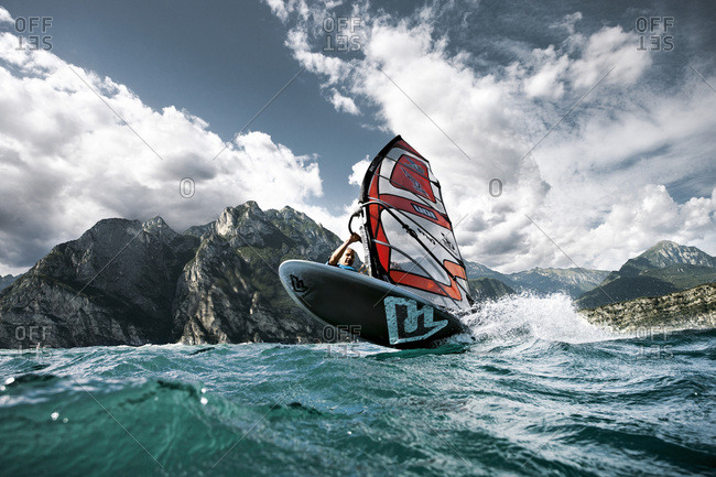 Garda Lake,  Italy - August 29,  2010: A wind surfer