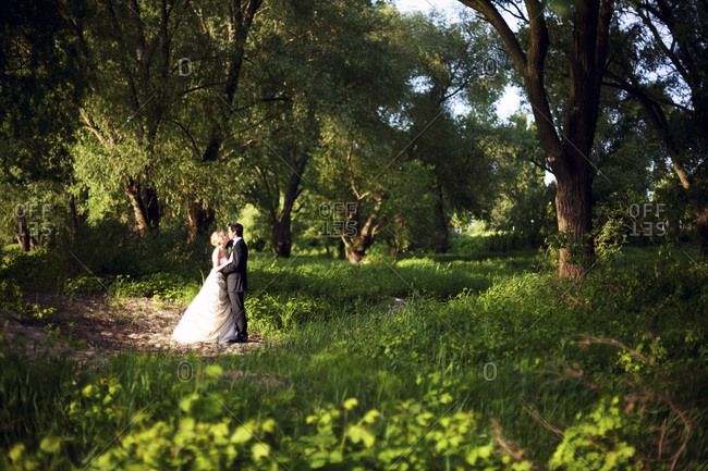 Kissing bride and groom in the nature