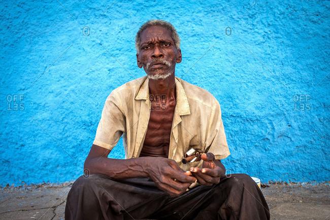 Portrait of an old man in Havana