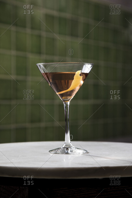A cocktail in martini glass