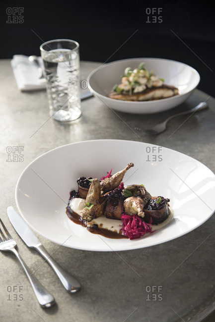 Venison and quail dish