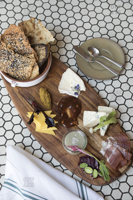 A cheese board with bread