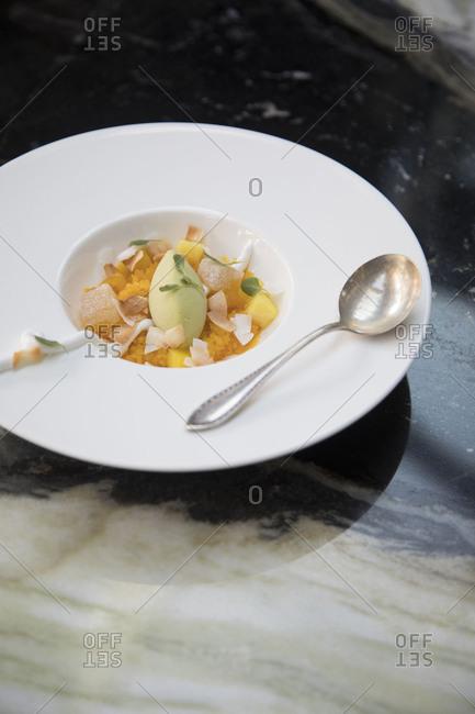 A custard and sorbet dessert
