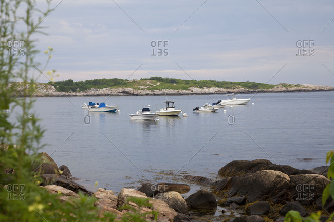 Gloucester, Massachussets - July 18, 2011: Boats off the coast