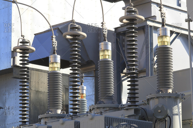 High voltage transformers at electric plant