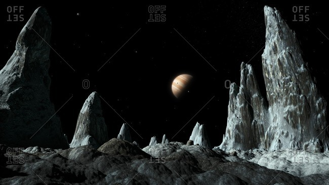 Artwork of ice spires (around 100 meters tall) on the surface of the Jovian moon