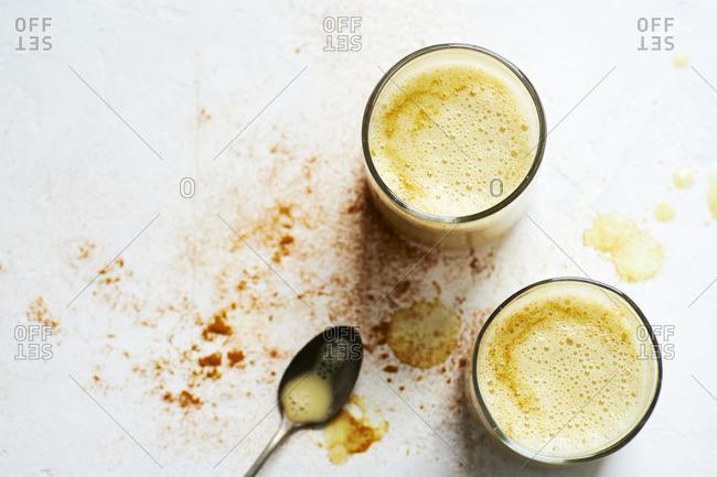 Two glasses of homemade golden milk