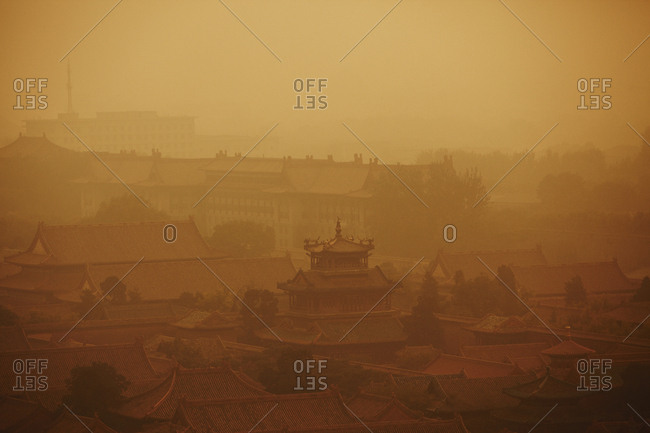 Polluted air over the Forbidden City in Beijing, China