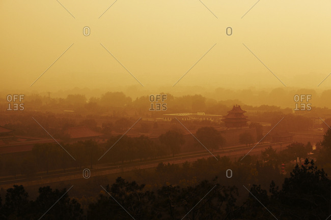 Smog over the Forbidden City in Beijing, China