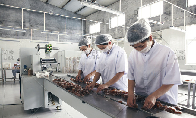 Binzhou, China - May 20, 2012: Workers sorting dried jujube on an assembly line in a factory