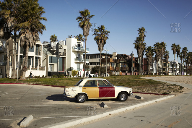 Los Angeles, California - February 27, 2013: Two-toned car parked in beachside parking lot in Los Angeles, California, Venice Beach