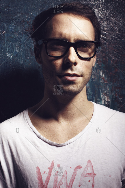 Beijing, China - May 4, 2014: Male model wearing trendy glasses in Beijing, China