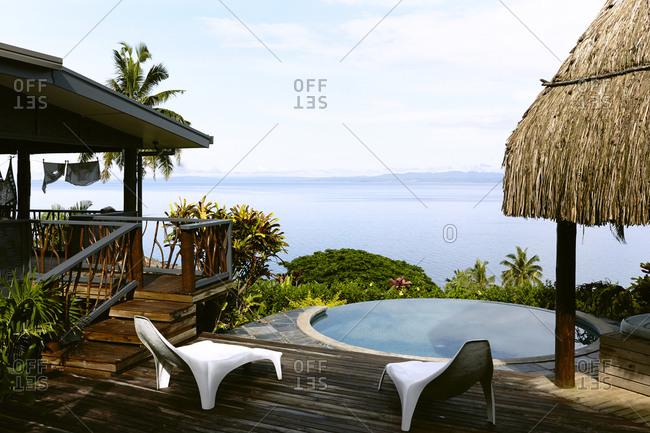 Small oceanside pool at a resort, Savusavu Bay, Savusavu, Fiji