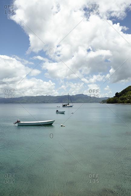 Savusavu, Fiji - February 17, 2015: Boats in Savusavu Bay, Savusavu, Fiji