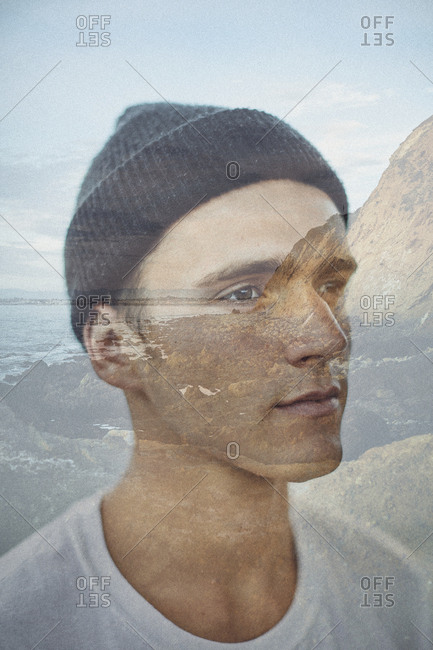 Los Angeles, California - September 19, 2016: Double exposure of young man on the coast of Los Angeles