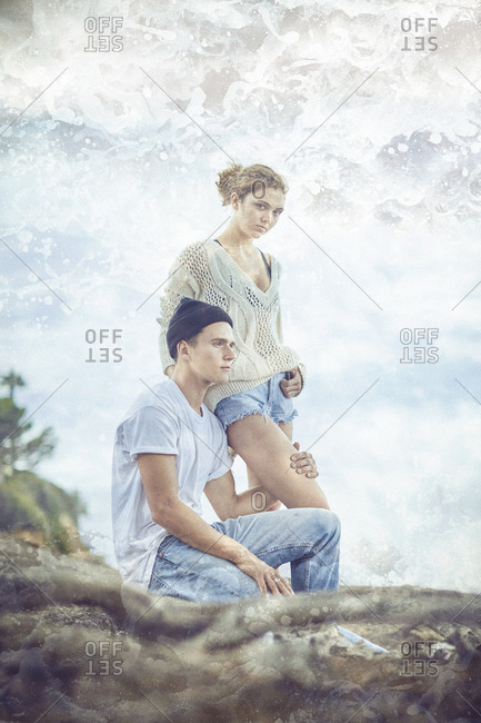 Los Angeles, California - September 19, 2016: Double exposure of couple on the coast of Los Angeles