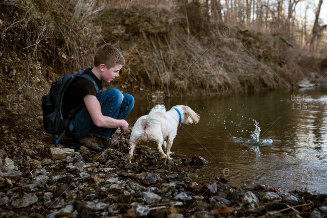 Boy and his dog playing by the edge of a river