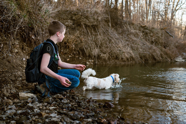 Boy watching his dog play by the shore of a river