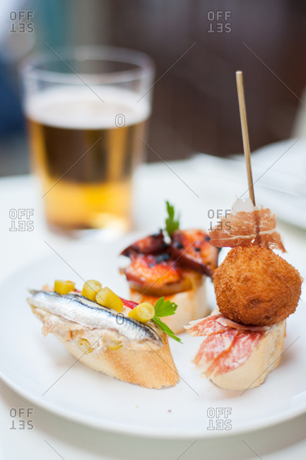 Pincho appetizers at a bar in Spain
