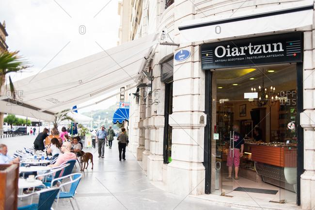 Donostia / San Sebastian, Spain - July 22, 2015: Exterior of a bakery in Donostia, Spain