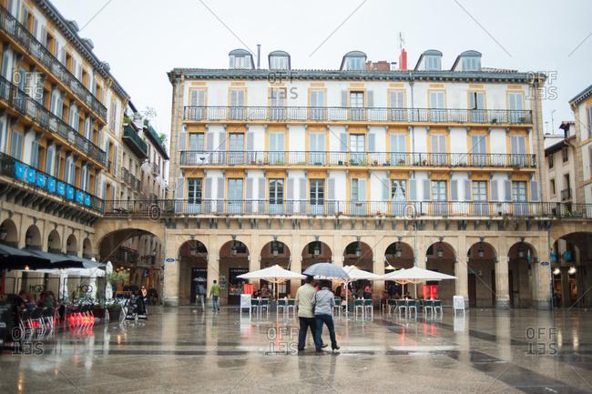 Donostia / San Sebastian, Spain - July 22, 2015: La Plaza de la Constitution, square in the historic center of San Sebastian, Spain