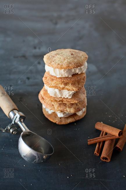 Stack of three snickerdoodle ice cream sandwiches