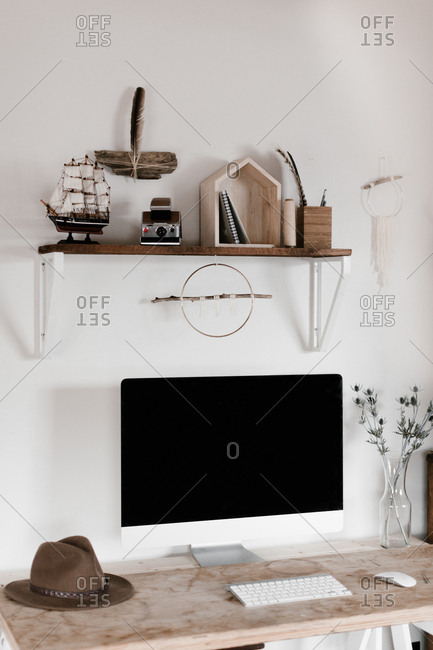 Desktop computer on a stylish desk in a home office