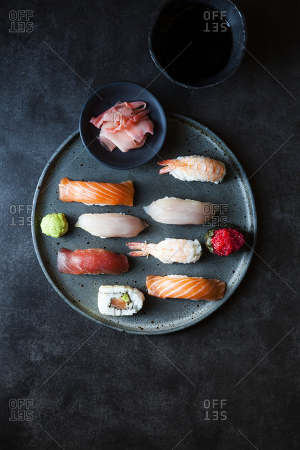 Overhead view of an assortment of fresh sushi