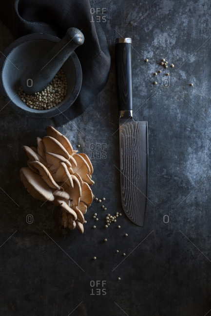Details of a professional chef knife and an heirloom mushroom