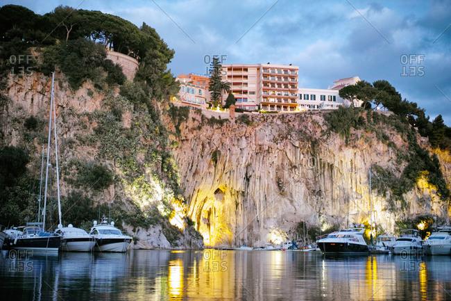 Monte Carlo, Monaco - November 1, 2014: Cliff of Monaco, luxury yachts at Port de Fontvieille