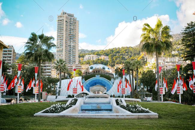 Monte Carlo, Monaco - November 20, 2014: Fountain of The Grand Casino