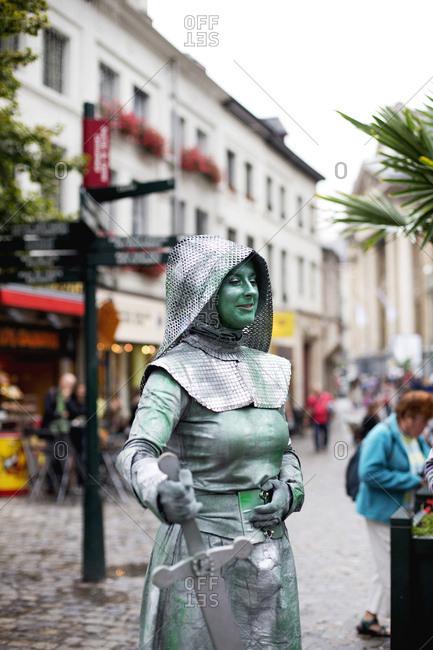 Brussels, Belgium - July 11, 2014: Woman performing as living statue