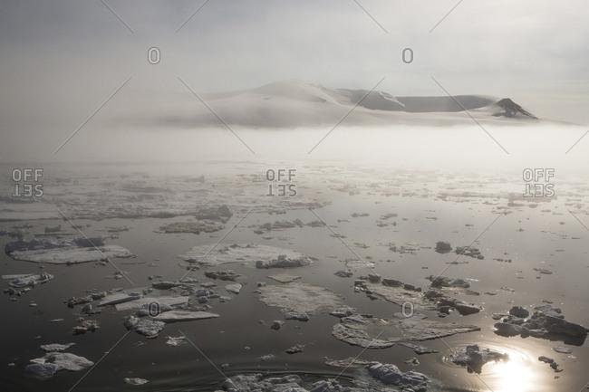 Glacier pieces in the ocean off the coast of Franz Josef Land