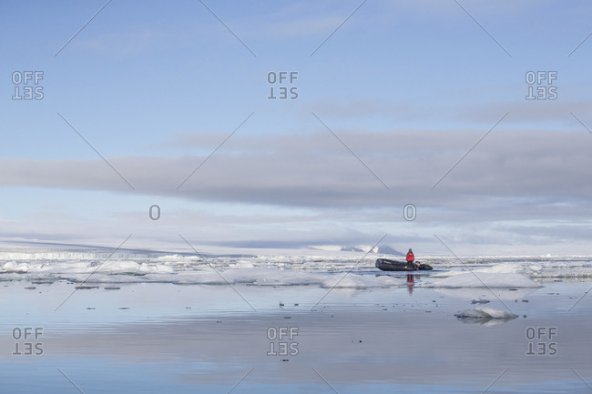 Man on a raft off the coast of Franz Josef Land