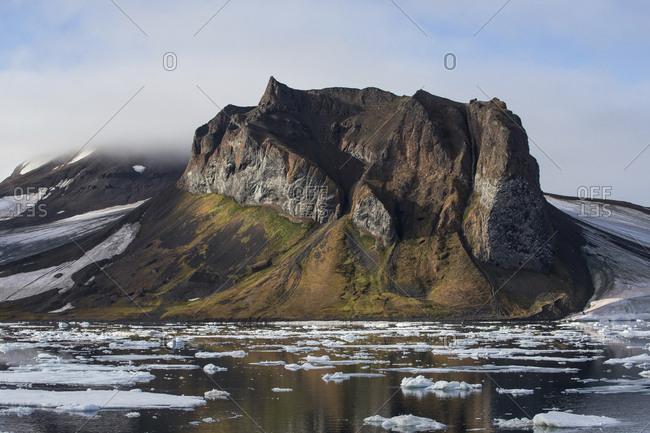 Rugged mountain landscape of Franz Josef Land, Russia