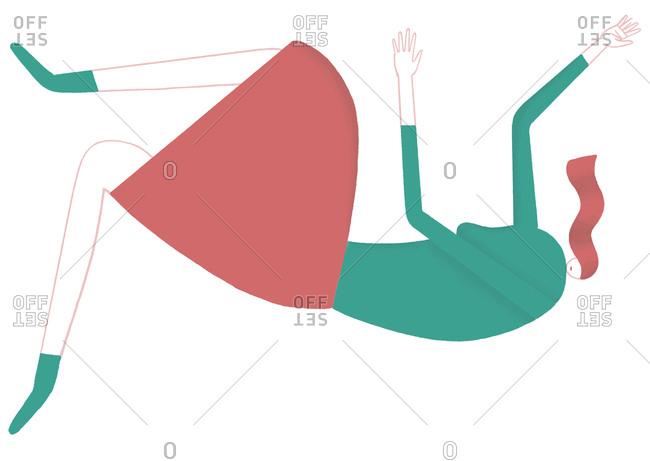 Illustration of redhead woman falling