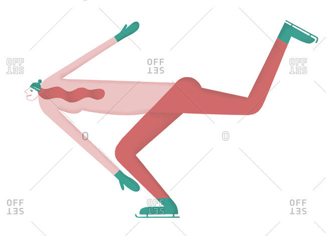 Illustration of redhead woman ice skating