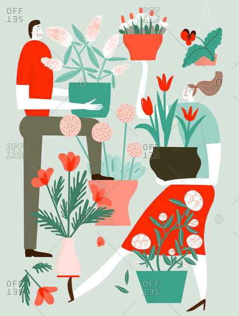 Couple holding potted flowers