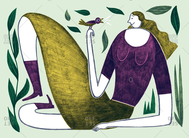 Illustration of woman holding a chirping bird