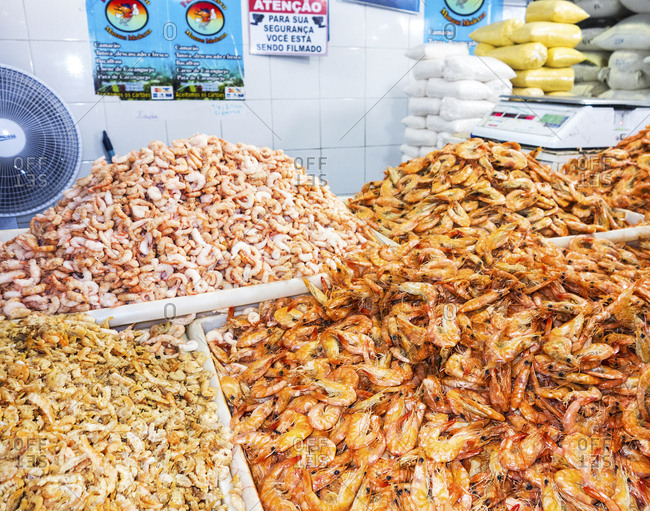 Manaus, Brazil - February 26, 2015: Piles of cooked and red shrimp at a vendor in Manaus's Fish Market