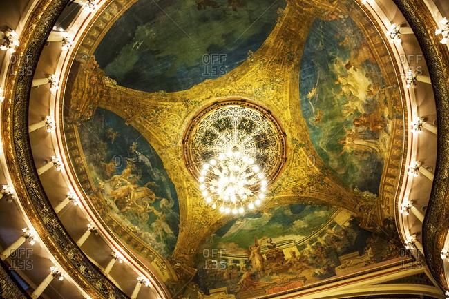 Manaus, Brazil - February 26, 2015: Ceiling detail of the Opera House in Manaus, Brazil