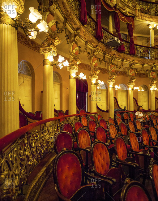Manaus, Brazil - February 26, 2015: Chairs in the opera house in Manaus, Brazil