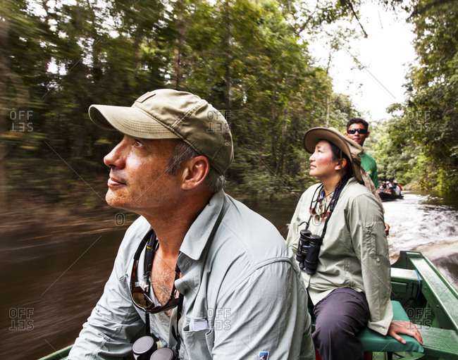Tourists speeding down the Amazon