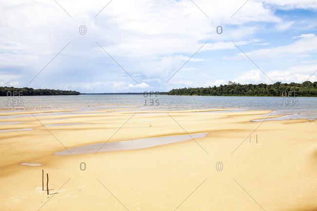 Soccer goals on a sandbar on Amazon river