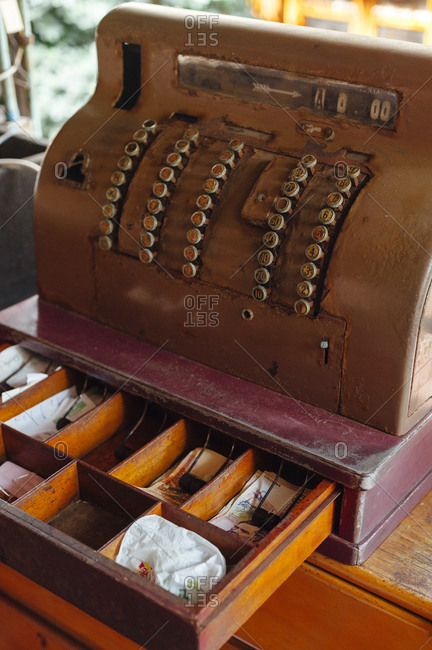 Ancient cash register of a typical restaurant in Boca Grande beach, Cartagena de  Indias, Colombia
